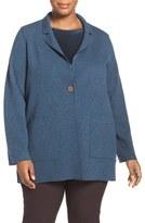 Eileen Fisher Plus Size Women's Notch Collar Felted Merino Knit Jacket