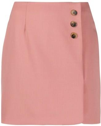 ALEXACHUNG Tortoiseshell Button Mini Skirt