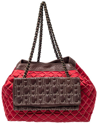 Carolina Herrera Red/Brown Quilted Satin and Leather Logo Pocket Shoulder Bag