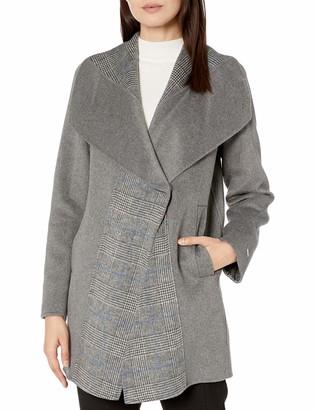 T Tahari Women's Nikki Two Tone Double face Wool Coat