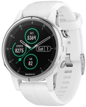 Garmin Unisex fenix 5S Plus White Silicone Silicone Smart Watch 42mm