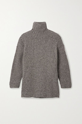 LAUREN MANOOGIAN Oversized Melange Alpaca, Merino Wool And Cotton-blend Turtleneck Sweater - Gray