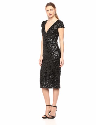 Dress the Population Women's Allison Plunging Sequin Fitted Midi Cap Sleeve Sheath Dress