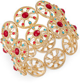 Thalia Sodi Gold-Tone Red & Blue Stone Circle Stretch Bracelet, Only at Macy's