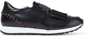 Tod's Ring-embellished Fringed Glossed-leather Sneakers