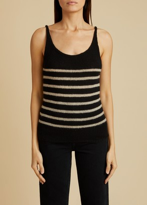 KHAITE The Betty Tank in Black and Powder Stripe