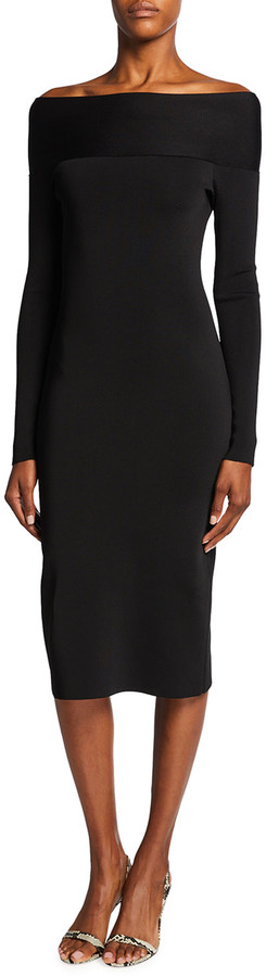 Victoria Beckham Bardot Off-the-Shoulder Compact Shine Fitted Dress