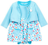 Offspring Multi Dot Bodysuit Dress & Cardigan Set (Baby Girls)