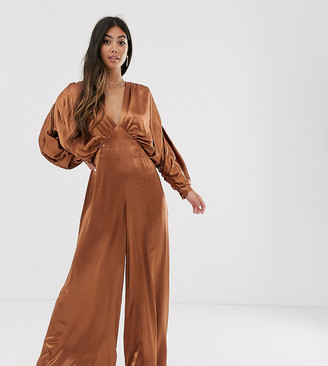 ASOS EDITION Petite ruched batwing satin jumpsuit