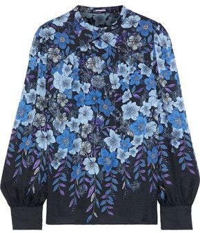 Elie Tahari Gathered Floral-print Silk-chiffon Blouse