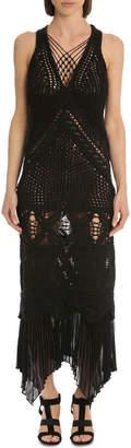 Jonathan Simkhai Macrame Knit V Neck Lace Up Dress