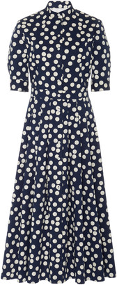 Carolina Herrera Polka-Dot High-Neck Cotton-Blend Dress