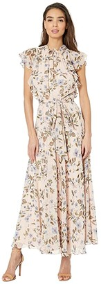 Tahari ASL Ruffle Sleeve Printed Swiss Dot Floral Maxi (Blushing Dot Roses) Women's Dress