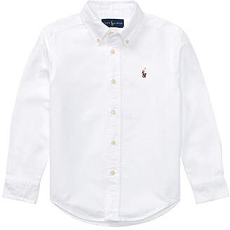 Polo Ralph Lauren Kids Cotton Oxford Sport Shirt (Little Kids/Big Kids) (White) Boy's Long Sleeve Button Up