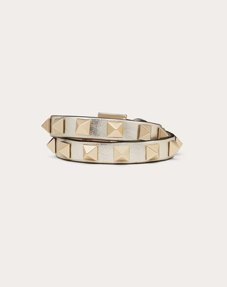 Valentino Rockstud Leather Double-strap Bracelet Women Sahara 100% Pelle Di Vitello - Bos Taurus OneSize