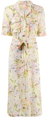 120% Lino Floral Waist-Tied Shirt Dress