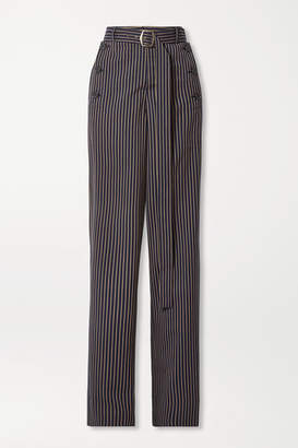 Sies Marjan Anouk Belted Paneled Pinstriped Twill Straight-leg Pants - Navy