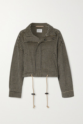 Nanushka Logan Houndstooth Wool And Silk-blend Jacket - Black