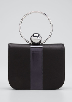 Pellegrino Celeste Satin & Leather Top-Handle Bag