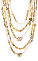 Lucky Brand Citrine & 7mm Freshwater Pearl Multi Layer Necklace