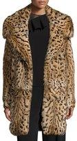 Cushnie et Ochs Leopard-Print Rabbit-Fur Oversized Coat, Leopard