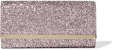 Jimmy Choo Milla Glittered Leather Clutch - Pink