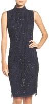 Adrianna Papell Sequin Mesh Sheath Dress