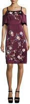 Nanette Lepore Embroidered Cold-Shoulder Silk Satin Dress, Wine/Multicolor