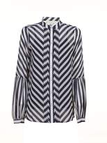 MICHAEL Michael Kors Striped Band Collar Chiffon Blouse