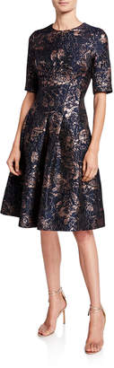 Rickie Freeman For Teri Jon Metallic Floral Jacquard Elbow-Sleeve A-Line Dress