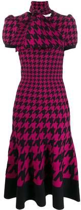 Alexander McQueen dogtooth jacquard midi knit dress