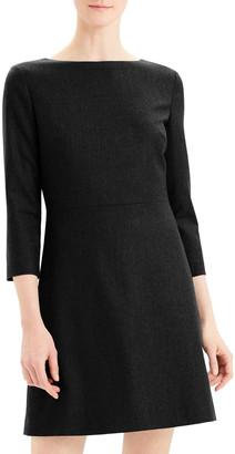 Theory Kamillina 3/4-Sleeve Short Sleek Flannel Dress