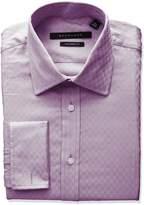 Sean John Men's Tailored Fit Check Spread Collar Dress Shirt