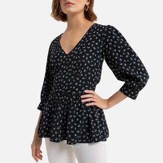 La Redoute Collections Floral Print Peplum Blouse with 3/4 Length Sleeves