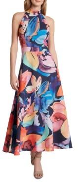 Tahari ASL Printed Halter Maxi Dress