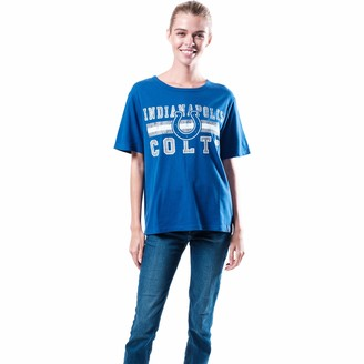 Ultra Game NFL Indianapolis Colts Womenss Distressed Graphics Soft Crew Neck Tee Shirt Team Color Medium
