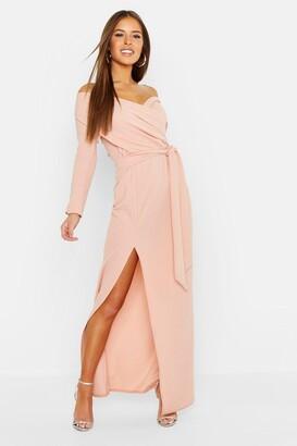 boohoo Petite Off The Shoulder Split Maxi Dress