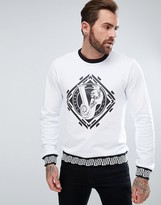 Versace Sweatshirt In White With Greek Key Print Logo