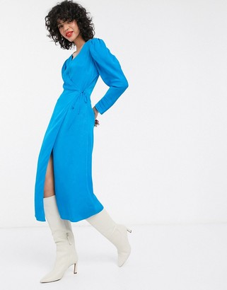 And other stories & puff sleeve jacquard midi wrap dress in blue