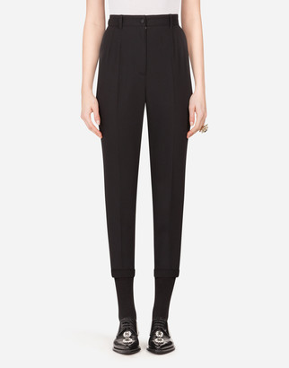 Dolce & Gabbana High-Waisted Wool Pants With Contrasting Band