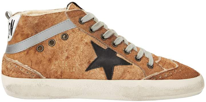 Golden Goose Mid Star Brown Leather And Shearling Sneakers