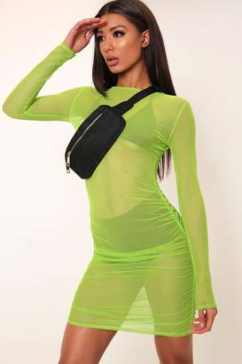 I SAW IT FIRST Neon Lime Ruched Sheer Mesh Bodycon Dress