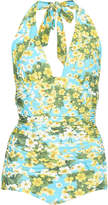 Dolce & Gabbana Floral-Print Plunge One-Piece Swimsuit