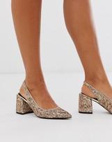 Asos Design DESIGN Samson slingback mid heels in glitter