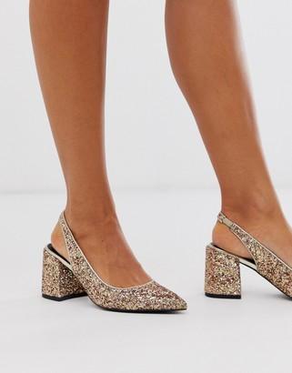 Asos DESIGN Samson slingback mid heels in glitter