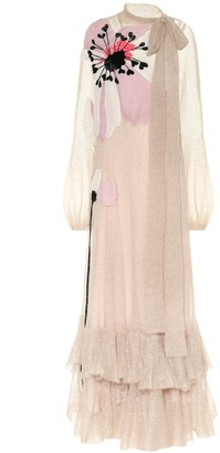 Valentino Embellished mohair-blend gown