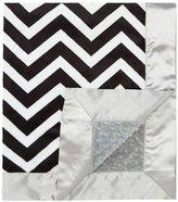 """MyBlankee My Blankee Chevron Minky Black/White w/ Minky Dot Silver Baby Blanket, 30"""" x 35"""""""