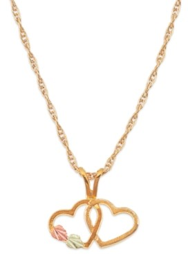 Black Hills Gold Double Heart Pendant in 10k Yellow Gold with 12k Rose and Green Gold