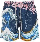 Mc2 Saint Barth Printed Wave Light Tech Swim Shorts
