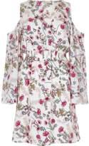 River Island Womens White floral print cold shoulder dress
